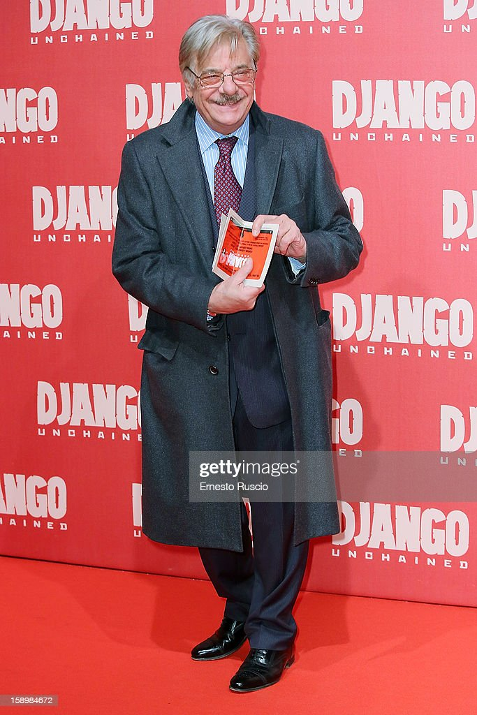 Actor Giancarlo Giannini attends the 'Django Unchained' premiere at Cinema Adriano on January 4, 2013 in Rome, Italy.