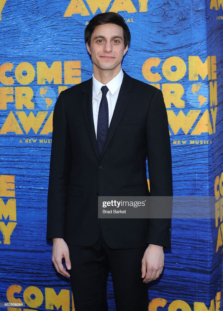 Actor Gideon Glick attends the 'Come From Away' Broadway Opening Night - Arrivals & Curtain Call at Gerald Schoenfeld Theatre on March 12, 2017 in New York City.