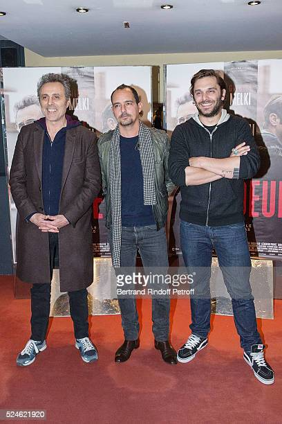 Actor Gilbert Melki Director Sylvain Desclous and Actor Pio Marmai attends 'Vendeur' Paris Premiere At UGC Cine Cite Les Halles on April 26 2016 in...