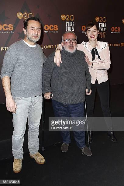 Actor Gilles Lellouche Director Dominique Farrugia and Actress Louise Bourgoin attend 'Sous le Meme Toit' Photocall during tne 20th L'Alpe D'Huez...