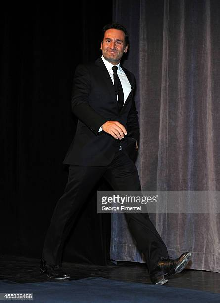 Actor Gilles Lellouche walks onstage at 'The Connection' premiere introduction during the 2014 Toronto International Film Festival at Roy Thomson...
