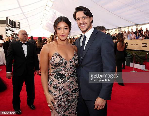 Actor Gina Rodriguez and Joe LoCicero attend The 23rd Annual Screen Actors Guild Awards at The Shrine Auditorium on January 29 2017 in Los Angeles...