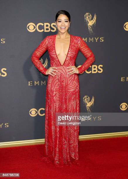 Actor Gina Rodriguez attends the 69th Annual Primetime Emmy Awards Arrivals at Microsoft Theater on September 17 2017 in Los Angeles California
