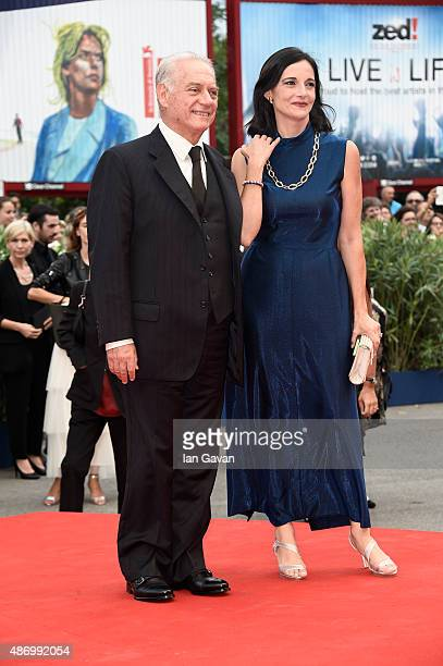 Actor Giorgio Colangeli and Corinna Lo Castro attend a premiere for 'The Wait' during the 72nd Venice Film Festival at Palazzo del Casino on...