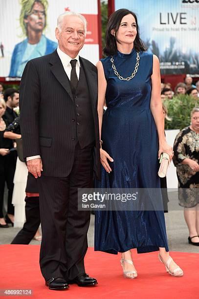 Actor Giorgio Colangeli and Corinna Lo Castro attend a premiere for 'The Wait' during the 72nd Venice Film Festival at Palazzo del Casino on...