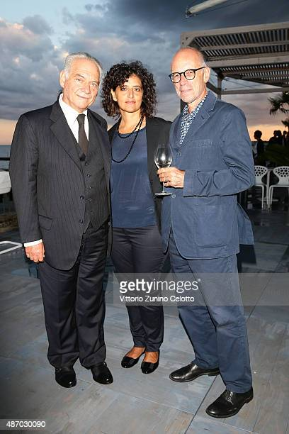 Actor Giorgio Colangeli guest and director Gabriele Salvatores attends a cocktail reception for 'The Wait' hosted by Tiffany Co during the 72nd...