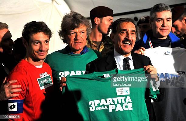 Actor Giorgio Pasotti former footoball player Giancarlo Antognoni and the Minister of Italian Defense Ignazio La Russa attend the Nazionale Attori vs...