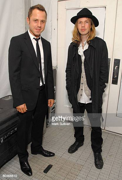 Actor Giovanni Ribisi and musician Beck mingle backstage at Whitley Kros fashion show at the Mercedes Benz Fashion Week at Smashbox Studios on...