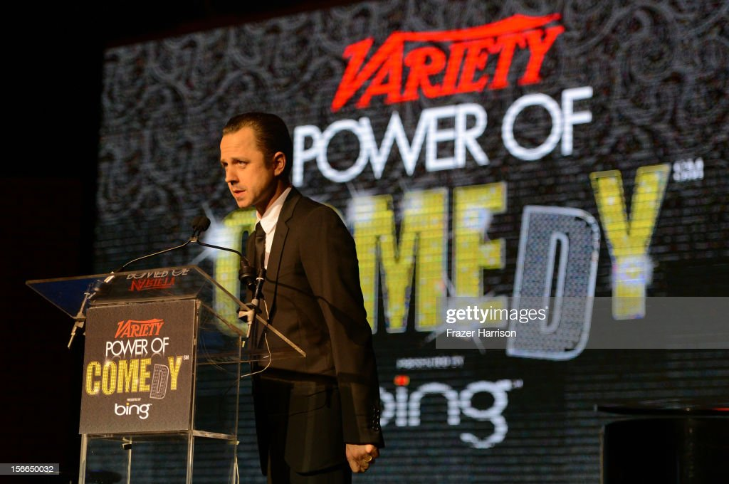 Actor <a gi-track='captionPersonalityLinkClicked' href=/galleries/search?phrase=Giovanni+Ribisi&family=editorial&specificpeople=540443 ng-click='$event.stopPropagation()'>Giovanni Ribisi</a> speaks onstage at Variety's 3rd annual Power of Comedy event presented by Bing benefiting the Noreen Fraser Foundation held at Avalon on November 17, 2012 in Hollywood, California.