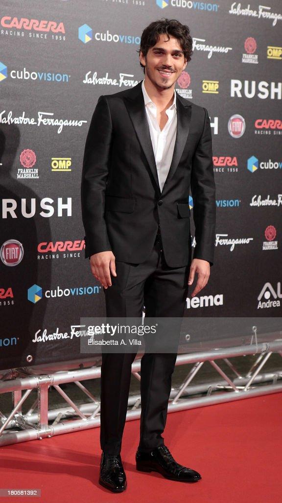 Actor Giuseppe Maggio attends the 'Rush' premiere at Auditorium della Conciliazione on September 14, 2013 in Rome, Italy.