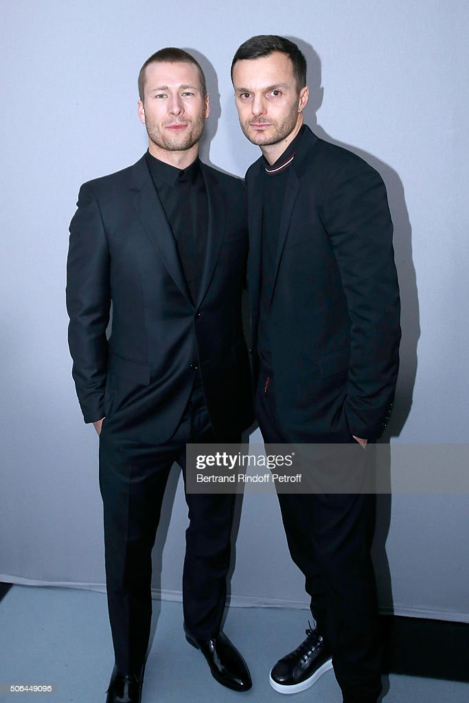 Actor <a gi-track='captionPersonalityLinkClicked' href=/galleries/search?phrase=Glen+Powell+-+Actor&family=editorial&specificpeople=12817726 ng-click='$event.stopPropagation()'>Glen Powell</a> and Fashion designer <a gi-track='captionPersonalityLinkClicked' href=/galleries/search?phrase=Kris+Van+Assche+-+Fashion+Designer&family=editorial&specificpeople=5744788 ng-click='$event.stopPropagation()'>Kris Van Assche</a> pose Backstage after the Dior Homme Menswear Fall/Winter 2016-2017 show as part of Paris Fashion Week on January 23, 2016 in Paris, France.