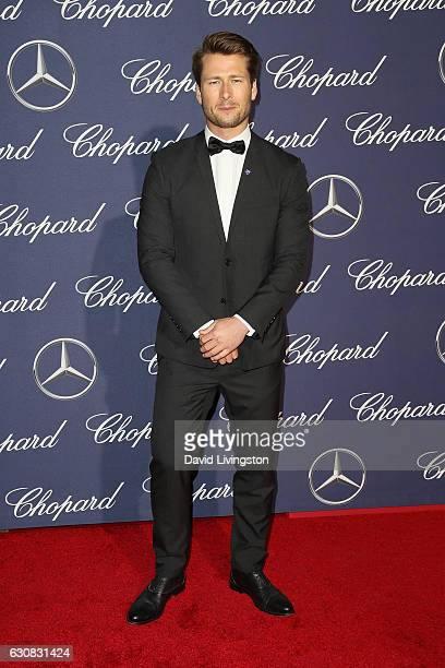 Actor Glen Powell arrives at the 28th Annual Palm Springs International Film Festival Film Awards Gala at the Palm Springs Convention Center on...