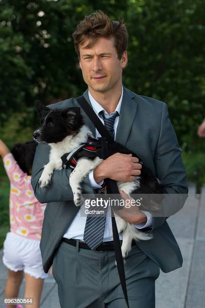 Actor Glen Powell is seen filming 'Set It Up' on the Highline on June 15 2017 in New York City