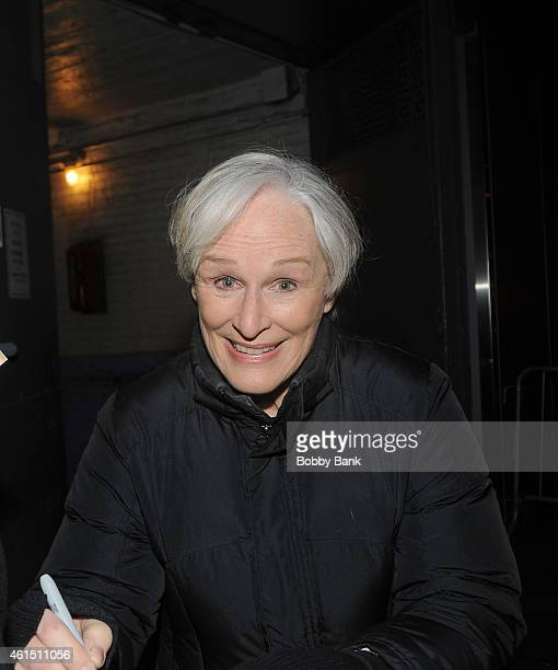 Actor Glenn Close exits the stage doors of 'A Delicate Balance' outside the Golden Theatre on January 13 2015 in New York City