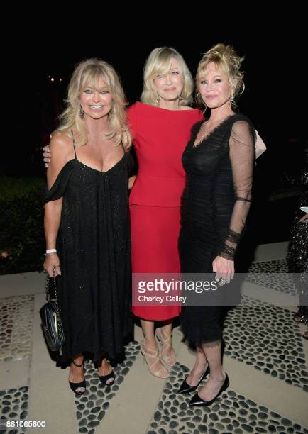 Actor Goldie Hawn journalist Diane Sawyer and actor Melanie Griffith attend the amfAR Gala Los Angeles 2017 at Ron Burkle's Green Acres Estate on...