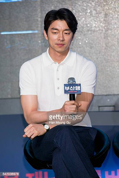 Actor Gong Yoo attends the press conference for 'Train To Busan' at Nine Tree on June 21 2016 in Seoul South Korea The film will on July 20 2016 in...