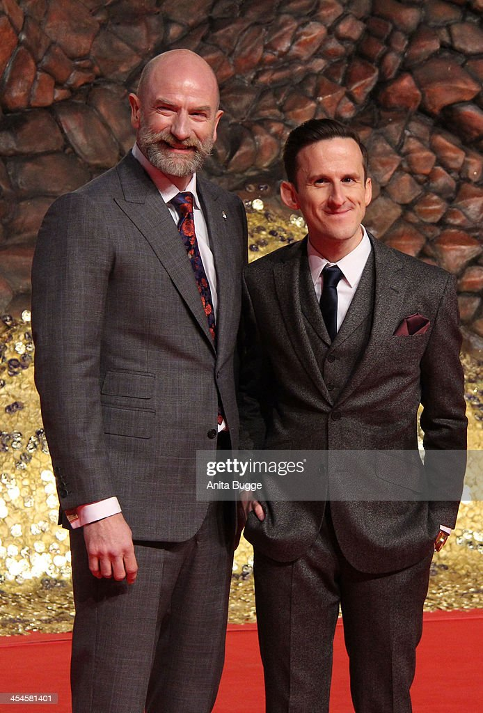 Actor <a gi-track='captionPersonalityLinkClicked' href=/galleries/search?phrase=Graham+McTavish&family=editorial&specificpeople=4509837 ng-click='$event.stopPropagation()'>Graham McTavish</a> (L) and actor Adam Brown attend the 'The Hobbit: The Desolation of Smaug' European Premiere at Cinestar on December 9, 2013 in Berlin, Germany.
