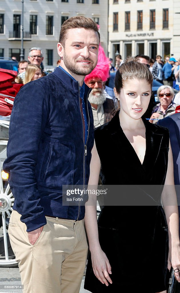 Actor Grammy and EmmyAward Winner Justin Timberlake and US actress Anna Kendrick attend the photocall for the film 'Trolls' at Brandenburg Gate on...