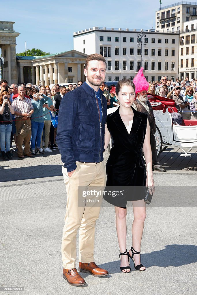 Actor Grammy and EmmyAward WinnerJustin Timberlake and US actress Anna Kendrick attend the photocall for the film 'Trolls' at Brandenburg Gate on May...