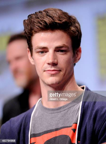Actor Grant Gustin attends Warner Bros Television DC Entertainment world premiere presentation during ComicCon International 2014 at San Diego...