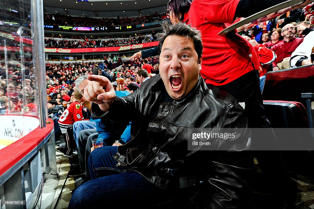 Actor Greg Grunberg of the TV show Heroes watches the NHL game between the Los Angeles Kings and the Chicago Blackhawks on March 25, 2013 at the United Center in Chicago, Illinois.