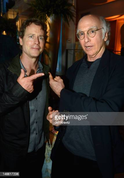Actor Greg Kinnear and actor/writer/comedian Larry David attend the after party for HBO's New Series 'Newsroom' Los Angeles Premiere at Boulevard3 on...