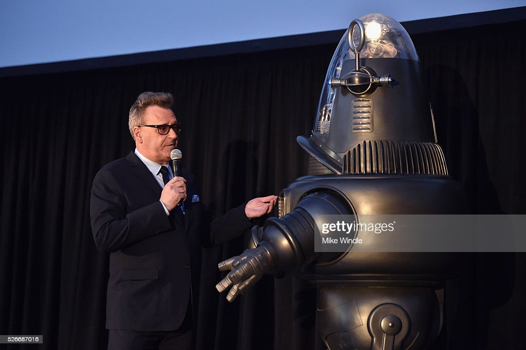 Actor <a gi-track='captionPersonalityLinkClicked' href=/galleries/search?phrase=Greg+Proops&family=editorial&specificpeople=693332 ng-click='$event.stopPropagation()'>Greg Proops</a> (L) and Robby the Robot attend 'Forbidden Planet' screening during day 3 of the TCM Classic Film Festival 2016 on April 30, 2016 in Los Angeles, California. 25826_008