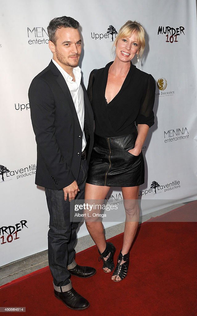 Actor Greg Winter and agent Meg Day arrive for the Premiere Of Upper Laventille's'Murder 101' held at Raleigh Studios' Chaplin Theater on June 12, 2014 in Los Angeles, California.