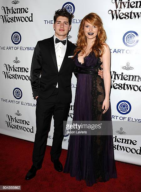 Actor Gregg Sulkin and actress Bella Thorne attend Art of Elysium's 9th annual Heaven Gala at 3LABS on January 9 2016 in Culver City California