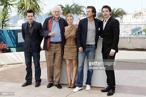 Actor Gregoire Leprince Ringuet director Bertrand Tavernier with actress Melanie Thierry and actors Gaspard Ulliel Raphael Personnaz attend the 'The...