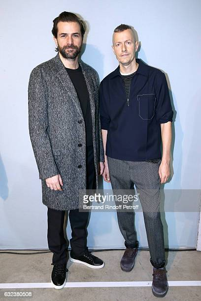 Actor Gregory Fitoussi and Stylist of 'Lanvin Men' Lucas Ossendrijver attend the Lanvin Menswear Fall/Winter 20172018 show as part of Paris Fashion...