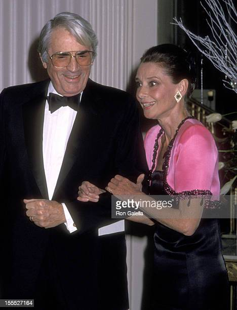 Actor Gregory Peck and actress Audrey Hepburn attend the First Annual Lighthouse for the Blind's Winternight Gala to Honor Audrey Hepburn on November...