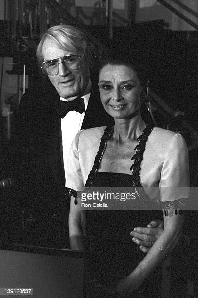 Actor Gregory Peck and actress Audrey Hepburn attend The Lighthouse For The Blind Winternight Awards on November 30 1988 at the Waldorf Hotel in New...