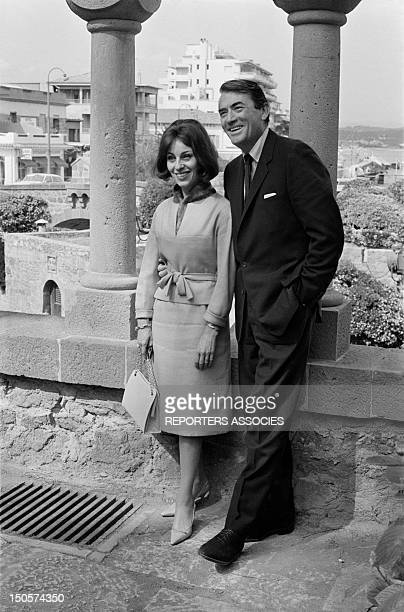 Actor Gregory Peck and and his wife Veronique at the Chateau de la Napoule during Cannes Film Festival in May 1963 in Cannes France