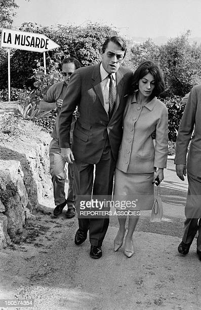 Actor Gregory Peck and his wife Veronique at Cannes Film Festival in May 1963 in Cannes France