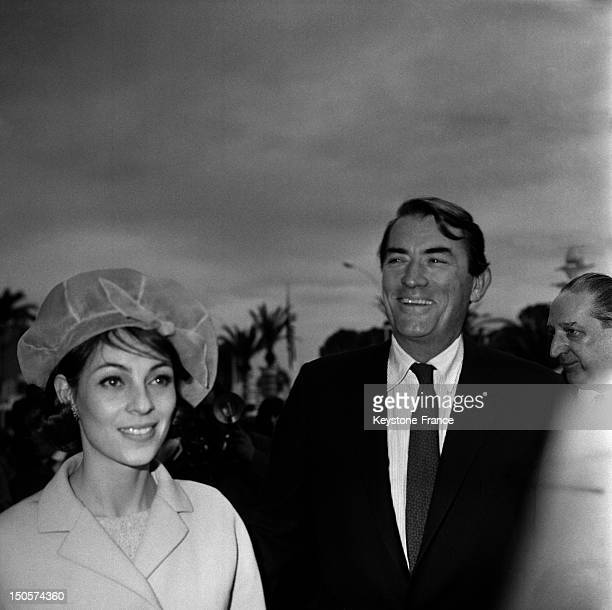 Actor Gregory Peck and his wife Veronique Passani at Cannes Film Festival for american movie 'To Kill A Mockingbird' on May 17 1963 in Cannes France