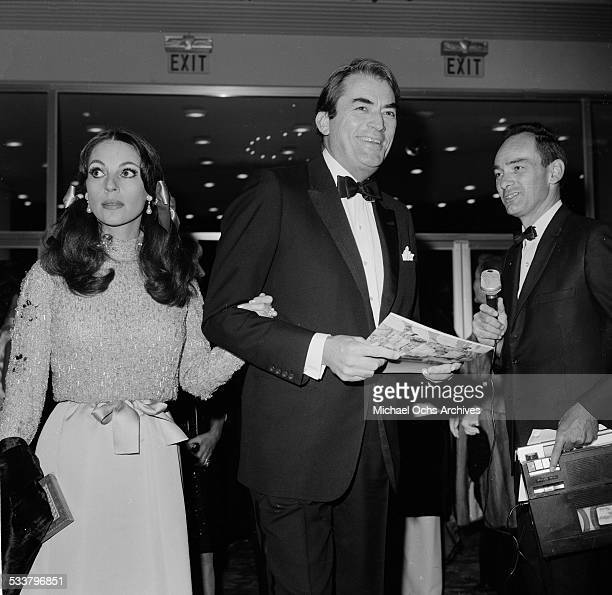 Actor Gregory Peck and his wife Veronique Passani attend an event in Los AngelesCA