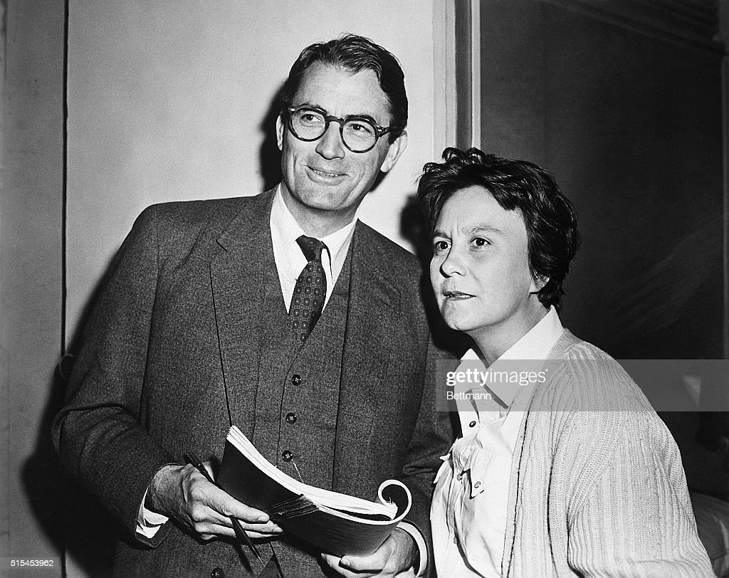1962- Actor <a gi-track='captionPersonalityLinkClicked' href=/galleries/search?phrase=Gregory+Peck&family=editorial&specificpeople=69992 ng-click='$event.stopPropagation()'>Gregory Peck</a> and novelist <a gi-track='captionPersonalityLinkClicked' href=/galleries/search?phrase=Harper+Lee&family=editorial&specificpeople=226982 ng-click='$event.stopPropagation()'>Harper Lee</a> on the set of the Universal Pictures release To Kill A Mockingbird, in which Peck plays the hero. Miss Lee is the Pulitzer Prize winning author of the book To Kill A Mockingbird.