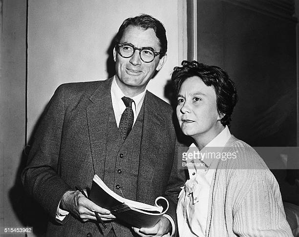 1962 Actor Gregory Peck and novelist Harper Lee on the set of the Universal Pictures release To Kill A Mockingbird in which Peck plays the hero Miss...