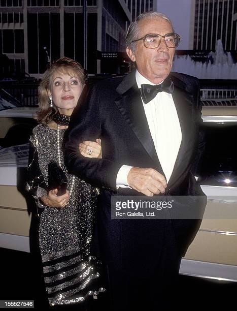 Actor Gregory Peck and wife Veronique Peck attend the 1984 Rudolph Valentino Awards on July 3 1984 at Century Plaza Hotel in Los Angeles California