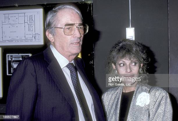 Actor Gregory Peck and wife Veronique Peck attend the Lady Day at Emerson's Bar Grill Opening Night Performance on September 10 1986 at Westside Arts...