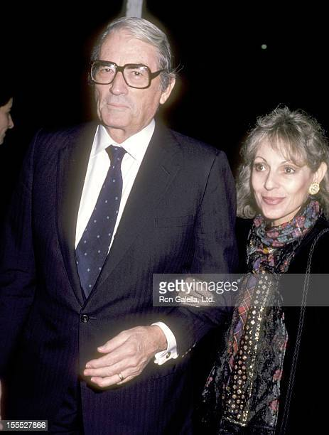 Actor Gregory Peck and wife Veronique Peck attend the Maccheroni West Hollywood Premiere on October 24 1985 at DGA Theatre in West Hollywood...