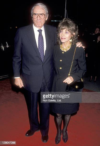 Actor Gregory Peck and wife Veronique Peck attend the 'Torn Apart' New York City Premiere on April 19 1990 at 57th Street Playhouse in New York City...