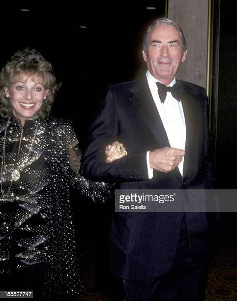 Actor Gregory Peck and wife Veronique Peck attend the Variety International's Humanitarian Award Honoring Frank Sinatra on April 24 1980 at Century...