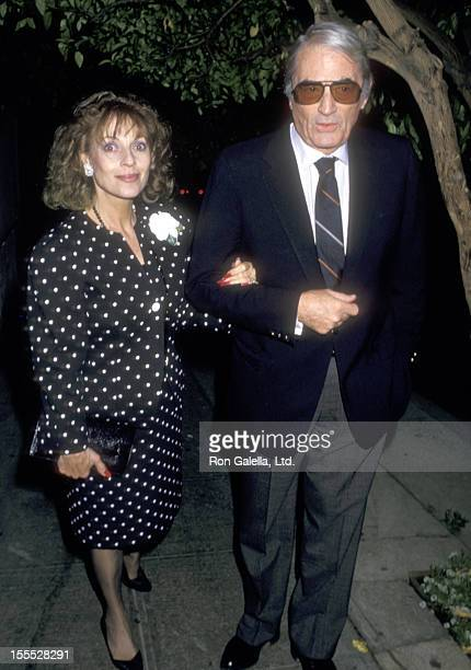 Actor Gregory Peck and wife Veronique Peck on June 22 1987 dine at Spago in West Hollywood California
