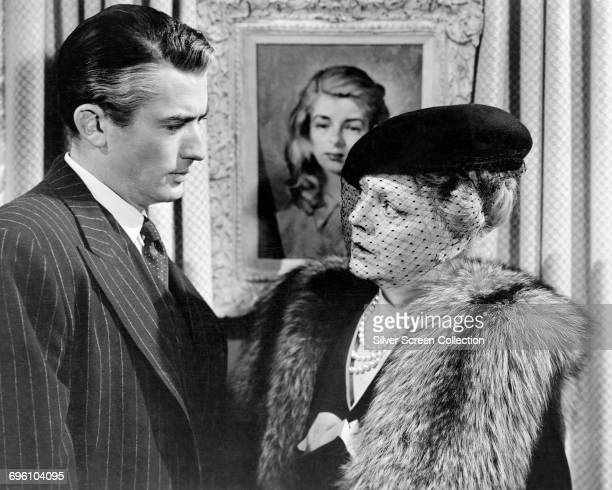 Actor Gregory Peck as Anthony Keane Counsel for the Defence and Ethel Barrymore as Lady Sophie Horfield in the courtroom drama 'The Paradine Case'...