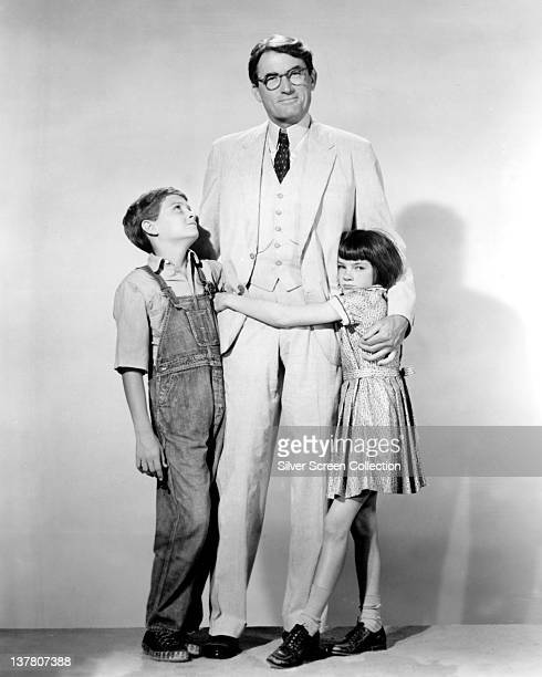 Actor Gregory Peck as Atticus Finch Mary Badham as Jean Louise 'Scout' Finch and Phillip Alford as Jeremy 'Jem' Finch in a publicity still for the...
