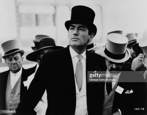 Actor Gregory Peck attends Royal Ascot in a scene from the movie 'Arabesque' in 1966 in Ascot Berkshire England