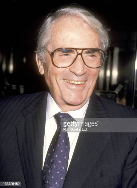 Actor Gregory Peck attends the Torn Apart New York City Premiere on April 19 1990 at 57th Street Playhouse in New York City New York