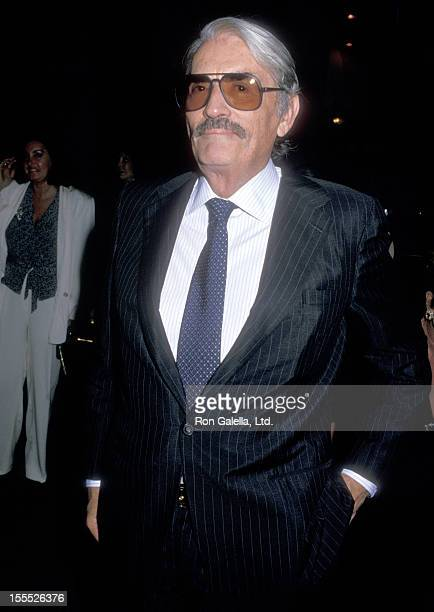 Actor Gregory Peck attendsMilton Berle's 80th Birthday Party on July 12 1988 at La Cage aux Folles in West Hollywood California